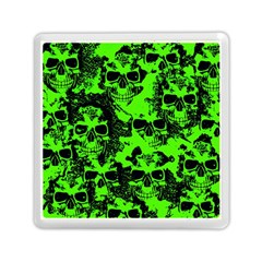 Cloudy Skulls Black Green Memory Card Reader (square)  by MoreColorsinLife