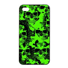 Cloudy Skulls Black Green Apple Iphone 4/4s Seamless Case (black) by MoreColorsinLife