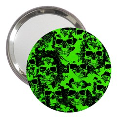 Cloudy Skulls Black Green 3  Handbag Mirrors by MoreColorsinLife