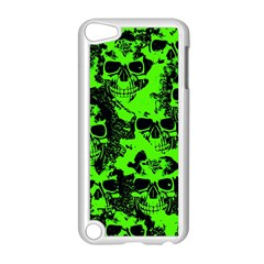 Cloudy Skulls Black Green Apple Ipod Touch 5 Case (white) by MoreColorsinLife