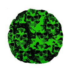 Cloudy Skulls Black Green Standard 15  Premium Round Cushions by MoreColorsinLife