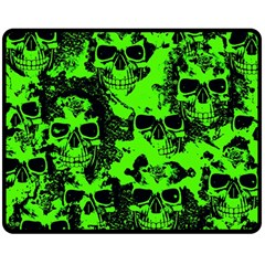 Cloudy Skulls Black Green Double Sided Fleece Blanket (medium)  by MoreColorsinLife