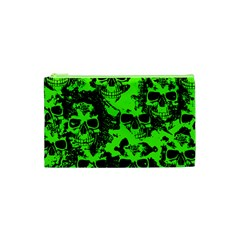 Cloudy Skulls Black Green Cosmetic Bag (xs) by MoreColorsinLife