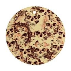 Cloudy Skulls Beige Ornament (round) by MoreColorsinLife