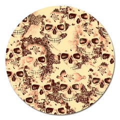 Cloudy Skulls Beige Magnet 5  (round) by MoreColorsinLife