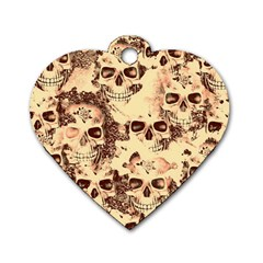 Cloudy Skulls Beige Dog Tag Heart (two Sides) by MoreColorsinLife
