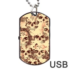 Cloudy Skulls Beige Dog Tag Usb Flash (two Sides) by MoreColorsinLife