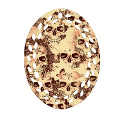 Cloudy Skulls Beige Ornament (oval Filigree) by MoreColorsinLife