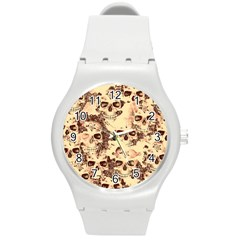 Cloudy Skulls Beige Round Plastic Sport Watch (m) by MoreColorsinLife