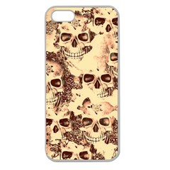 Cloudy Skulls Beige Apple Seamless Iphone 5 Case (clear) by MoreColorsinLife