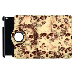 Cloudy Skulls Beige Apple Ipad 3/4 Flip 360 Case by MoreColorsinLife