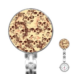Cloudy Skulls Beige Stainless Steel Nurses Watch by MoreColorsinLife