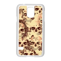 Cloudy Skulls Beige Samsung Galaxy S5 Case (white) by MoreColorsinLife