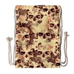 Cloudy Skulls Beige Drawstring Bag (large) by MoreColorsinLife