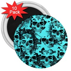 Cloudy Skulls Aqua 3  Magnets (10 Pack)  by MoreColorsinLife