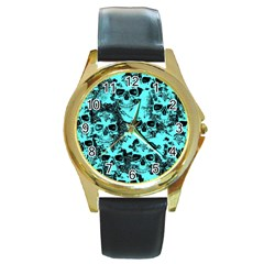 Cloudy Skulls Aqua Round Gold Metal Watch by MoreColorsinLife