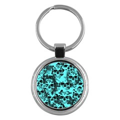 Cloudy Skulls Aqua Key Chains (round)  by MoreColorsinLife