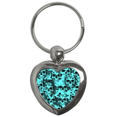 Cloudy Skulls Aqua Key Chains (heart)  by MoreColorsinLife