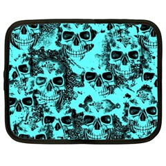 Cloudy Skulls Aqua Netbook Case (xxl)  by MoreColorsinLife