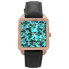 Cloudy Skulls Aqua Rose Gold Leather Watch  by MoreColorsinLife