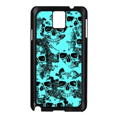 Cloudy Skulls Aqua Samsung Galaxy Note 3 N9005 Case (black) by MoreColorsinLife