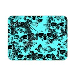 Cloudy Skulls Aqua Double Sided Flano Blanket (mini)  by MoreColorsinLife