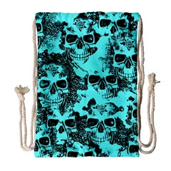 Cloudy Skulls Aqua Drawstring Bag (large) by MoreColorsinLife