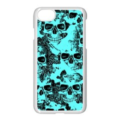 Cloudy Skulls Aqua Apple Iphone 7 Seamless Case (white) by MoreColorsinLife