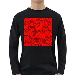 Cloudy Skulls Red Long Sleeve Dark T Shirts by MoreColorsinLife
