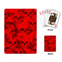 Cloudy Skulls Red Playing Card by MoreColorsinLife
