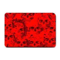 Cloudy Skulls Red Small Doormat  by MoreColorsinLife