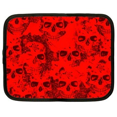 Cloudy Skulls Red Netbook Case (large) by MoreColorsinLife