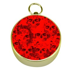 Cloudy Skulls Red Gold Compasses by MoreColorsinLife