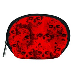 Cloudy Skulls Red Accessory Pouches (medium)  by MoreColorsinLife
