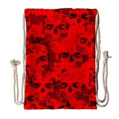 Cloudy Skulls Red Drawstring Bag (large) by MoreColorsinLife