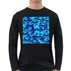 Cloudy Skulls Blue Long Sleeve Dark T Shirts
