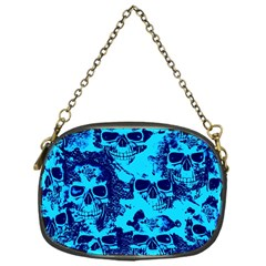 Cloudy Skulls Blue Chain Purses (one Side)  by MoreColorsinLife