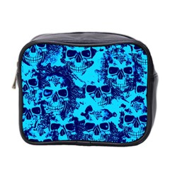 Cloudy Skulls Blue Mini Toiletries Bag 2 Side by MoreColorsinLife