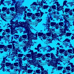 Cloudy Skulls Blue Magic Photo Cubes by MoreColorsinLife