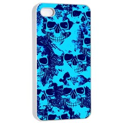 Cloudy Skulls Blue Apple Iphone 4/4s Seamless Case (white) by MoreColorsinLife