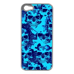 Cloudy Skulls Blue Apple Iphone 5 Case (silver) by MoreColorsinLife
