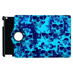 Cloudy Skulls Blue Apple Ipad 3/4 Flip 360 Case by MoreColorsinLife