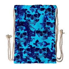 Cloudy Skulls Blue Drawstring Bag (large) by MoreColorsinLife