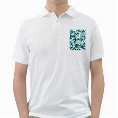 Cloudy Skulls White Aqua Golf Shirts by MoreColorsinLife