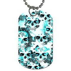 Cloudy Skulls White Aqua Dog Tag (one Side) by MoreColorsinLife