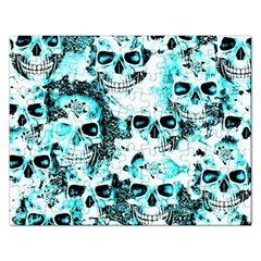 Cloudy Skulls White Aqua Rectangular Jigsaw Puzzl by MoreColorsinLife
