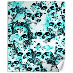Cloudy Skulls White Aqua Canvas 16  X 20   by MoreColorsinLife