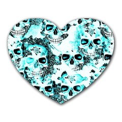 Cloudy Skulls White Aqua Heart Mousepads