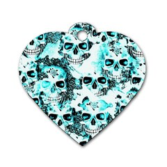 Cloudy Skulls White Aqua Dog Tag Heart (one Side) by MoreColorsinLife