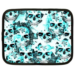Cloudy Skulls White Aqua Netbook Case (large) by MoreColorsinLife